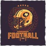 Progettazione dell'etichetta della maglietta di football americano Immagini Stock