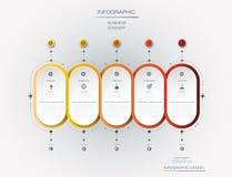 Progettazione dell'etichetta di Infographic di vettore con le icone e 5 opzioni o punti Fotografie Stock
