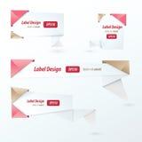 Progettazione dell'etichetta di origami, stile di amore Immagine Stock