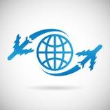 Progettazione dell'icona dell'aeroplano e del globo di simbolo di viaggio intorno al mondo Fotografie Stock Libere da Diritti