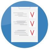 Progettazione dell'icona della lista di controllo piana Immagini Stock Libere da Diritti