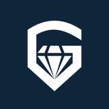 Progettazione dell'icona di logo della pietra preziosa di g della lettera Fotografia Stock