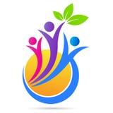Progettazione dell'icona di vettore di simbolo del sole della foglia della natura di sanità di logo di benessere della gente illustrazione di stock