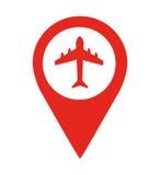 progettazione dell'icona isolata perno di posizione dell'aeroporto illustrazione di stock