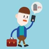 Progettazione dell'illustrazione del carattere Cellulare dell'uomo d'affari dal carbone Immagine Stock Libera da Diritti