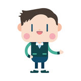 Progettazione dell'illustrazione del carattere Fumetto allegro dell'uomo d'affari, ENV Immagini Stock