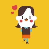 Progettazione dell'illustrazione del carattere fumetto allegro della donna di affari, ENV Immagine Stock