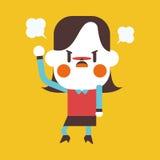 Progettazione dell'illustrazione del carattere Fumetto arrabbiato della donna di affari, ENV Fotografia Stock Libera da Diritti