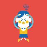 Progettazione dell'illustrazione del carattere Fumetto confuso della ragazza, ENV Fotografia Stock Libera da Diritti