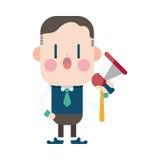 Progettazione dell'illustrazione del carattere Fumetto degli altoparlanti dell'uomo d'affari, Immagine Stock