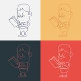 Progettazione dell'illustrazione del carattere Fumetto del libro di lettura del ragazzo, ENV Fotografia Stock Libera da Diritti