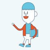 Progettazione dell'illustrazione del carattere Fumetto del libro di lettura dell'uomo d'affari, Immagini Stock Libere da Diritti