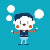 Progettazione dell'illustrazione del carattere Fumetto del messaggio dell'uomo d'affari, ENV Immagine Stock
