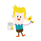 Progettazione dell'illustrazione del carattere Fumetto del vincitore dell'uomo d'affari, ENV Fotografia Stock