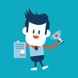 Progettazione dell'illustrazione del carattere Fumetto del vincitore dell'uomo d'affari, ENV Immagini Stock