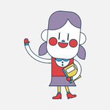 Progettazione dell'illustrazione del carattere Fumetto della gente di saluto della ragazza, ENV Immagine Stock Libera da Diritti