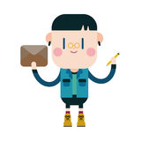 Progettazione dell'illustrazione del carattere Fumetto della lettera di scrittura del ragazzo, ENV Fotografia Stock Libera da Diritti