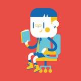 Progettazione dell'illustrazione del carattere Fumetto della lettura del ragazzo, ENV Immagini Stock