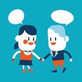 Progettazione dell'illustrazione del carattere Fumetto di conversazione del ragazzo e della ragazza, ENV Fotografia Stock