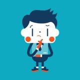 Progettazione dell'illustrazione del carattere Fumetto di pensiero dell'uomo d'affari, ENV Immagini Stock Libere da Diritti
