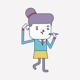 Progettazione dell'illustrazione del carattere Fumetto di scrittura della donna di affari Fotografia Stock Libera da Diritti