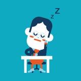 Progettazione dell'illustrazione del carattere Fumetto facente un pisolino dell'uomo d'affari, ENV Fotografia Stock