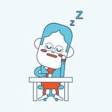 Progettazione dell'illustrazione del carattere Fumetto facente un pisolino dell'uomo d'affari, ENV Immagini Stock