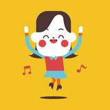 Progettazione dell'illustrazione del carattere Fumetto felice della donna di affari, ENV Immagini Stock