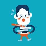 Progettazione dell'illustrazione del carattere Fumetto occupato dell'uomo d'affari, ENV Immagini Stock Libere da Diritti