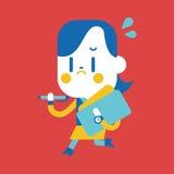 Progettazione dell'illustrazione del carattere Fumetto occupato della donna di affari, ENV Fotografie Stock Libere da Diritti