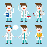 Progettazione dell'illustrazione del carattere Fumetto stabilito di medico Immagini Stock