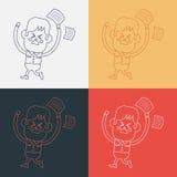 Progettazione dell'illustrazione del carattere La sensibilità del ragazzo ha infastidito il fumetto, ENV Fotografia Stock Libera da Diritti