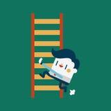 Progettazione dell'illustrazione del carattere Lavoro di concetto dell'uomo d'affari duro e Fotografie Stock
