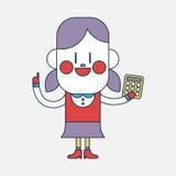 Progettazione dell'illustrazione del carattere Ragazza che usando il fumetto del calcolatore, ENV Fotografia Stock Libera da Diritti