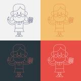 Progettazione dell'illustrazione del carattere Ragazza che usando il fumetto del calcolatore, ENV Fotografia Stock