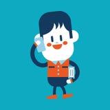 Progettazione dell'illustrazione del carattere Ragazzo che usando il fumetto del telefono cellulare, ENV Fotografia Stock Libera da Diritti