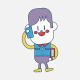 Progettazione dell'illustrazione del carattere Ragazzo che usando il fumetto del telefono cellulare, ENV Immagine Stock