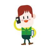 Progettazione dell'illustrazione del carattere Ragazzo che usando il fumetto del telefono cellulare, ENV Immagini Stock