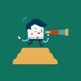 Progettazione dell'illustrazione del carattere Sguardo di concetto dell'uomo d'affari in avanti Immagine Stock