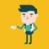 Progettazione dell'illustrazione del carattere Uomo d'affari che dà il carretto della carta di nome Fotografia Stock