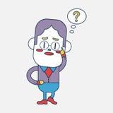 Progettazione dell'illustrazione del carattere Uomo d'affari che ha carto di domanda Immagine Stock Libera da Diritti