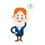 Progettazione dell'illustrazione del carattere Uomo d'affari che ha carto di domanda Immagini Stock