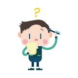 Progettazione dell'illustrazione del carattere Uomo d'affari che ha carto di domanda Fotografia Stock Libera da Diritti