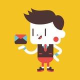 Progettazione dell'illustrazione del carattere Uomo d'affari che invia cartoo della lettera Immagine Stock Libera da Diritti
