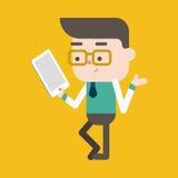 Progettazione dell'illustrazione del carattere Uomo d'affari che per mezzo del calcolatore del ridurre in pani Immagini Stock Libere da Diritti