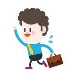 Progettazione dell'illustrazione del carattere Uomo d'affari che va lavorare fumetto Immagini Stock Libere da Diritti