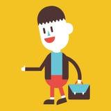 Progettazione dell'illustrazione del carattere Uomo d'affari che va lavorare fumetto Fotografia Stock Libera da Diritti