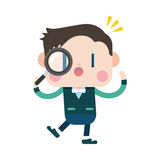 Progettazione dell'illustrazione del carattere Uomo d'affari facendo uso dei glas d'ingrandimento Immagini Stock Libere da Diritti