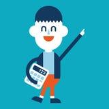Progettazione dell'illustrazione del carattere Uomo d'affari facendo uso del carretto del calcolatore Fotografia Stock Libera da Diritti
