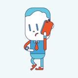 Progettazione dell'illustrazione del carattere Uomo d'affari facendo uso del carretto del telefono cellulare Fotografie Stock Libere da Diritti